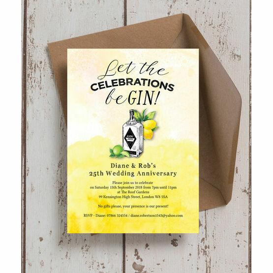 Gin & Tonic Themed 25th / Silver Wedding Anniversary Invitation