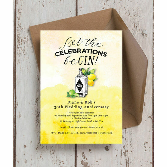 Gin & Tonic Themed 30th / Pearl Wedding Anniversary Invitation