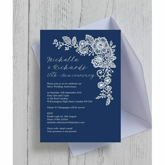 Navy Blue Floral Lace 25th / Silver Wedding Anniversary Invitation