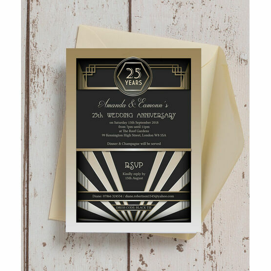 1920s Art Deco 25th / Silver Wedding Anniversary Invitation