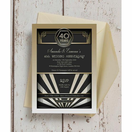 1920s Art Deco 40th / Ruby Wedding Anniversary Invitation