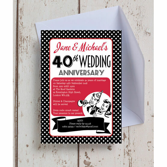 1960s Retro Rockabilly 40th / Ruby Wedding Anniversary Invitation