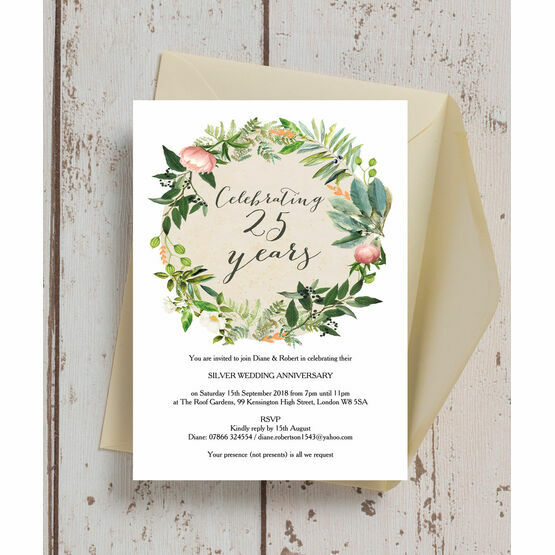 25th Wedding Anniversary Invitation Cards For Parents: Floral Wreath 25th / Silver Wedding Anniversary Invitation