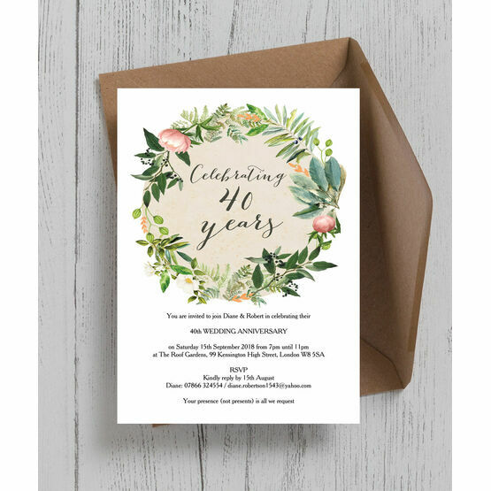 Floral Wreath 40th / Ruby Wedding Anniversary Invitation