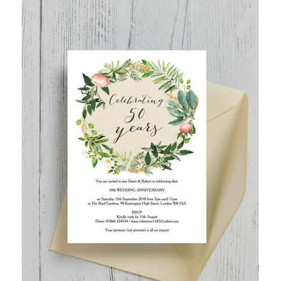 Floral Wreath 50th Golden Wedding Anniversary Invitation From