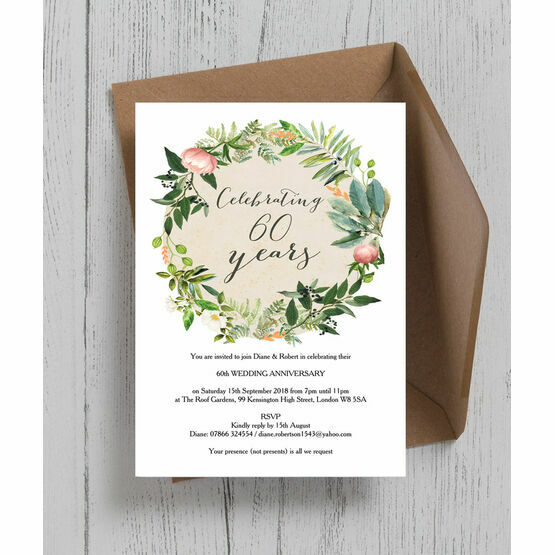 Floral Wreath 60th / Diamond Wedding Anniversary Invitation