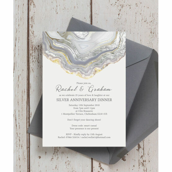 Agate Crystal 25th / Silver Wedding Anniversary Invitation from £0.90 each