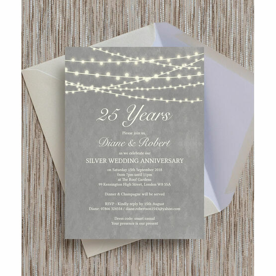 Grey Fairy Lights 25th / Silver Wedding Anniversary Invitation
