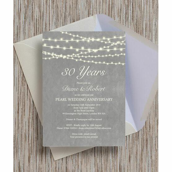 Grey Fairy Lights 30th / Pearl Wedding Anniversary Invitation
