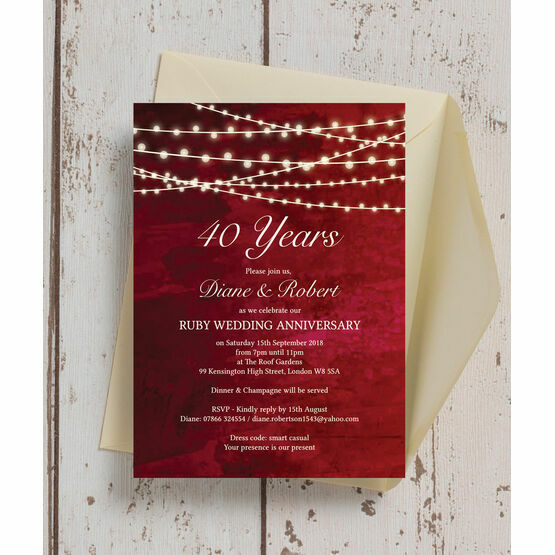 Red Fairy Lights 40th / Ruby Wedding Anniversary Invitation