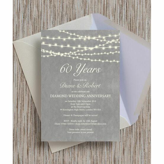 Grey Fairy Lights 60th / Diamond Wedding Anniversary Invitation