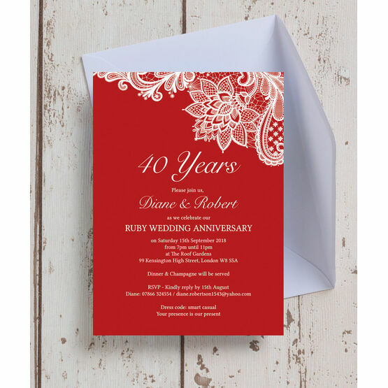 40th Wedding Anniversary.Red Lace Inspired 40th Ruby Wedding Anniversary Invitation