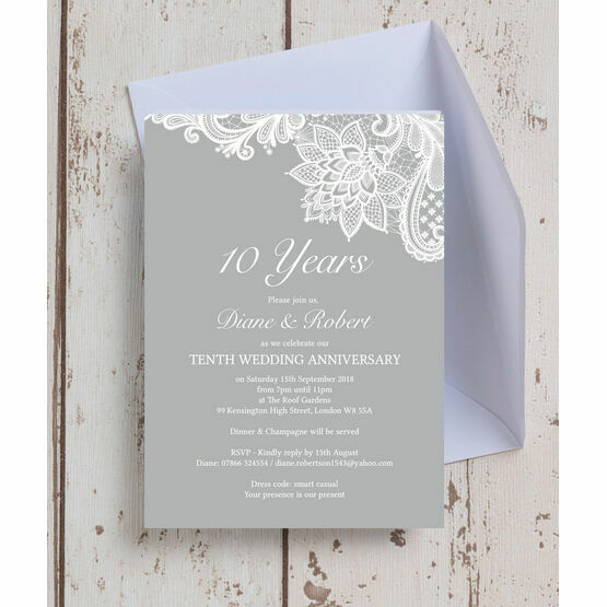 Anniversary Invitations | Vintage Lace Themed Wedding Anniversary Invitation From 0 90 Each