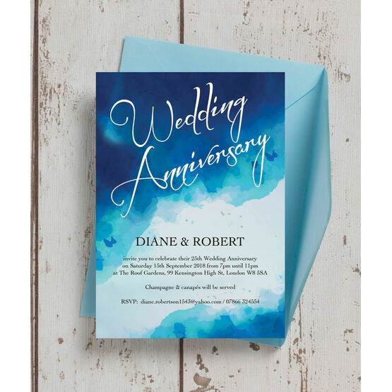 Blue Watercolour 25th / Silver Wedding Anniversary Invitation from £0.90 each
