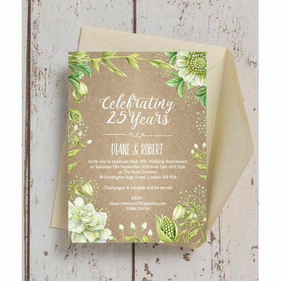 Rustic Greenery 25th / Silver Wedding Anniversary Invitation