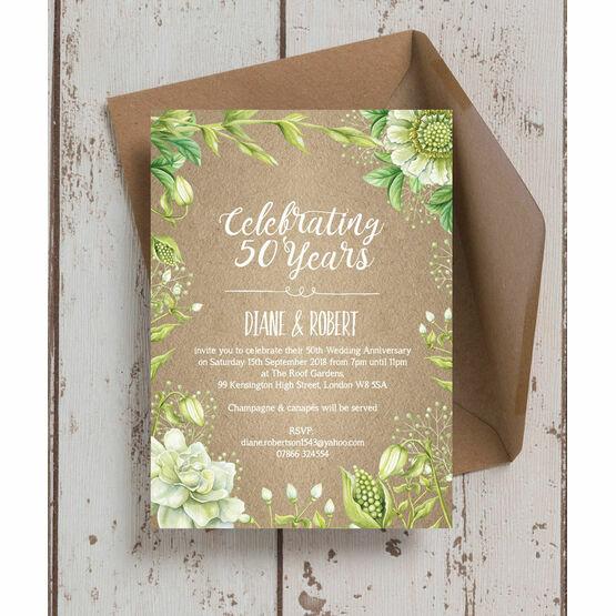 Rustic Greenery 50th / Golden Wedding Anniversary Invitation