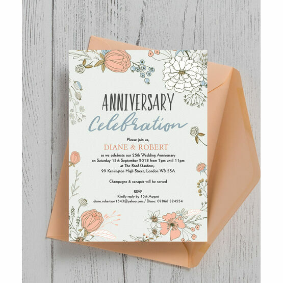 Wild Flowers 25th Silver Wedding Anniversary Invitation