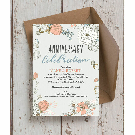 30th Wedding Anniversary Invitations: Wild Flowers 30th / Pearl Wedding Anniversary Invitation