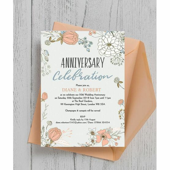 Wild Flowers 50th / Golden Wedding Anniversary Invitation