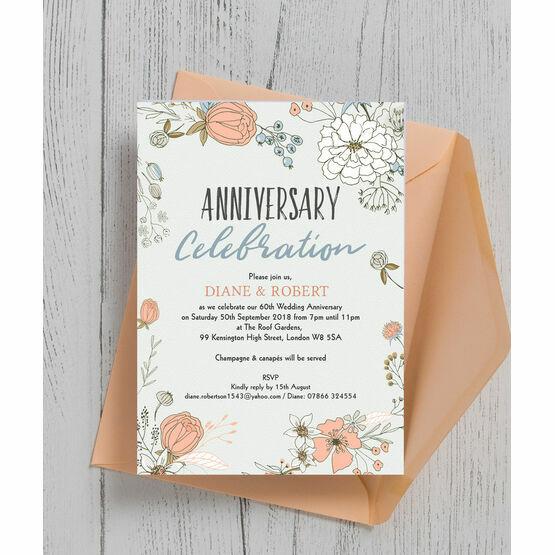 Wild Flowers 60th / Diamond Wedding Anniversary Invitation