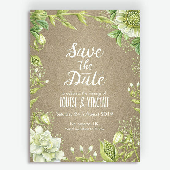 Rustic Greenery Wedding Save the Date