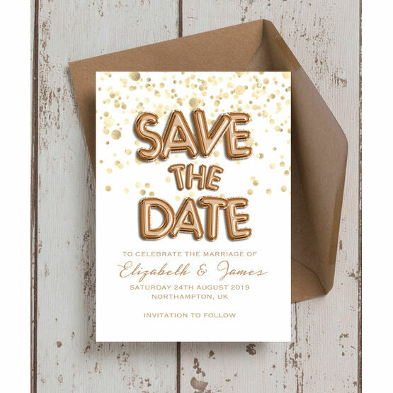 Rose Gold Balloons Wedding Save the Date