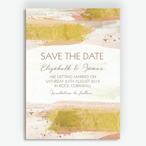 Blush Pink & Gold Brush Strokes Wedding Save the Date