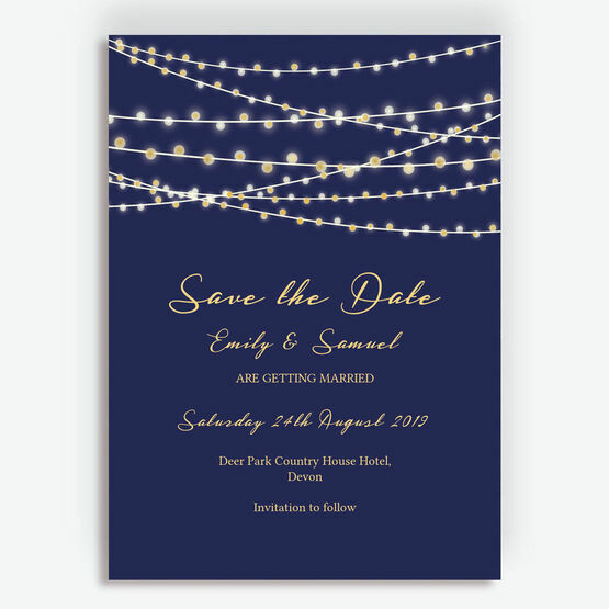 Navy Blue & Gold Fairy Lights Wedding Save the Date