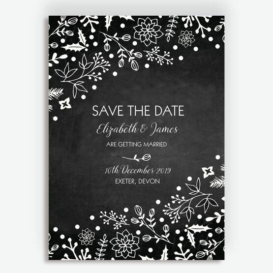 Christmas Save The Date Cards.Winter Chalkboard Wedding Save The Date
