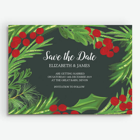Winter Berries Wedding Save the Date
