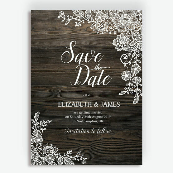 Rustic Wood & Lace Wedding Save the Date