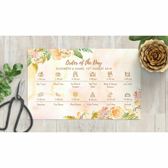 Gold Floral Wedding Timeline Card
