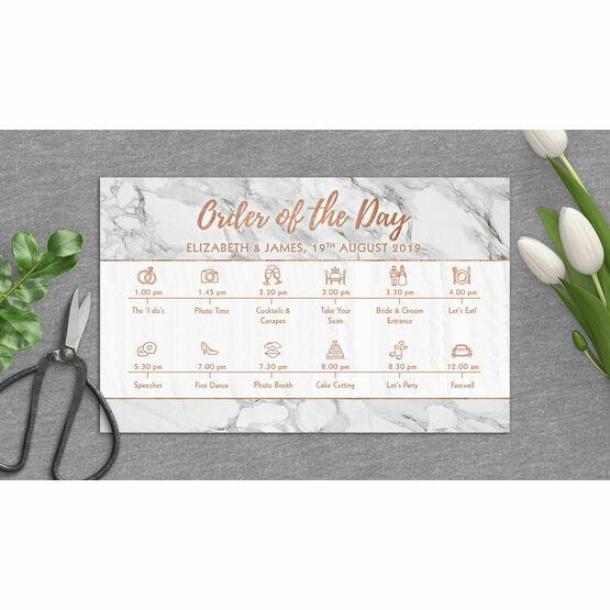 Marble & Copper Wedding Timeline Cards