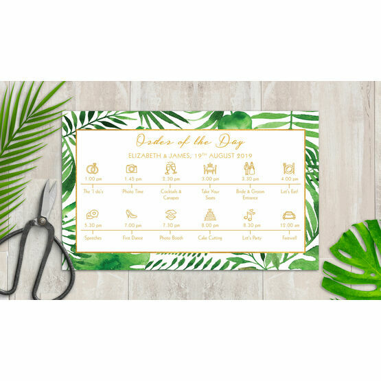 Tropical Leaves Wedding Timeline Cards