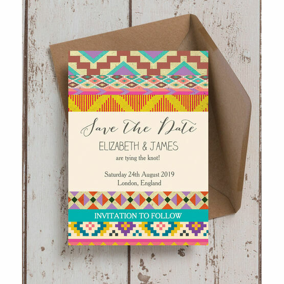 Aztec Ikat Save the Date