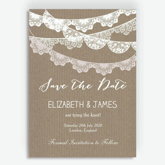 Rustic Lace Bunting Save the Date