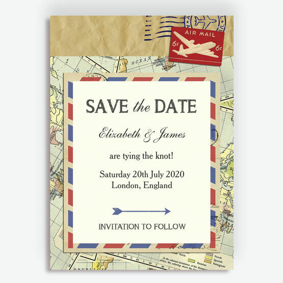 Vintage Airmail Save the Date