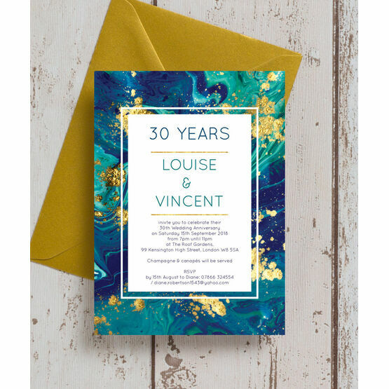 Teal & Gold Ink 30th / Pearl Wedding Anniversary Invitation