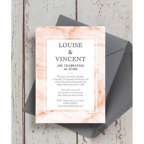 Blush Marble 40th / Ruby Wedding Anniversary Invitation