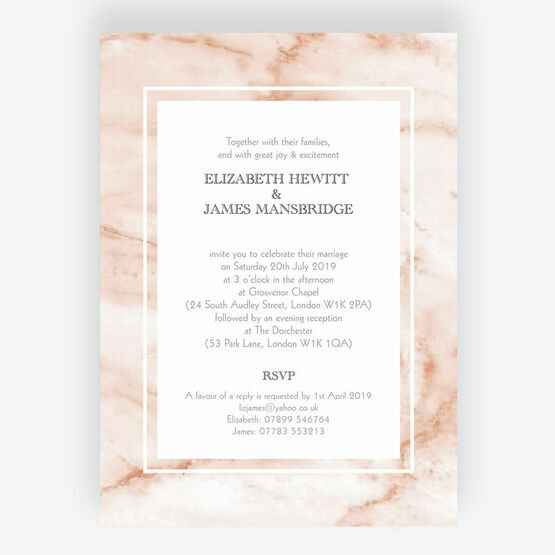 Blush Marble Wedding Invitation