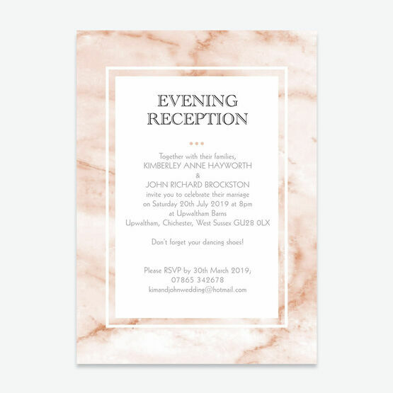 Blush Marble Evening Reception Invitation