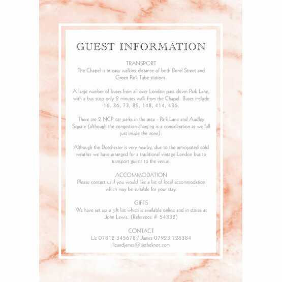 Blush Marble Guest Information Card