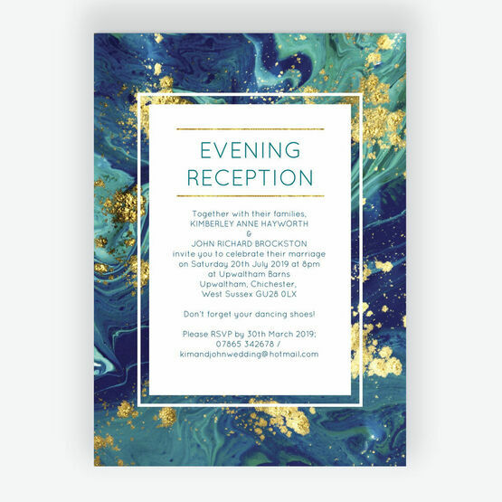 Teal & Gold Ink Evening Reception Invitation