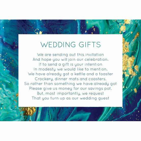 Teal & Gold Ink Gift Wish Card