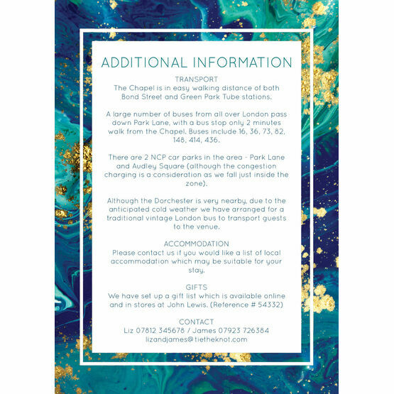 Teal & Gold Ink Guest Information Card