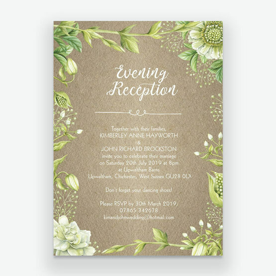 Wedding Ideas For Evening Reception: Rustic Greenery Evening Reception Invitation From £0.85 Each