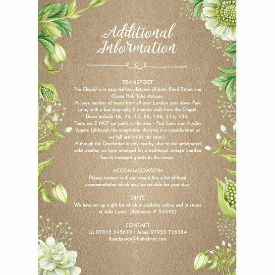 Rustic Greenery Guest Information Card
