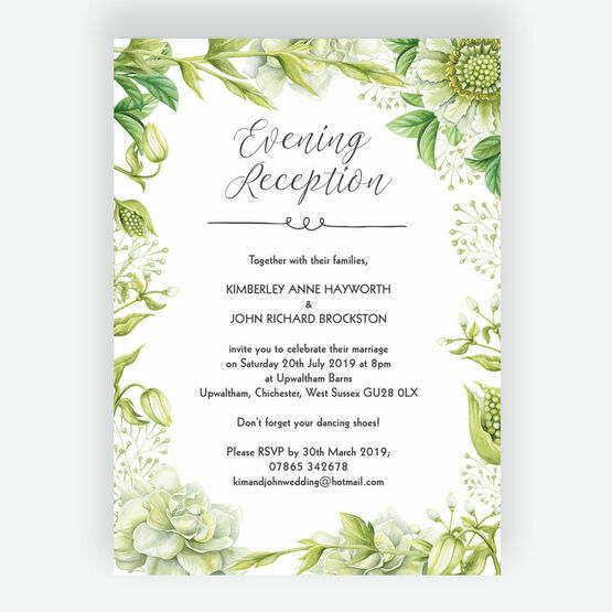 Wedding Ideas For Evening Reception: Greenery Evening Reception Invitation From £0.85 Each