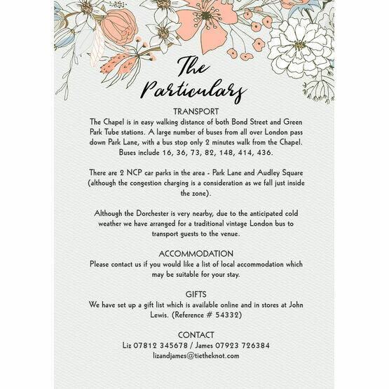 Wild Flowers Guest Information Card