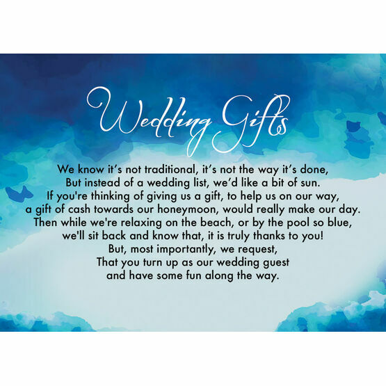 Blue Watercolour Gift Wish Card